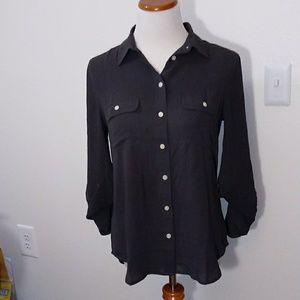 Loft button down shirt grey size small